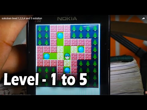 sokoban level 1,2,3,4 and 5 solution