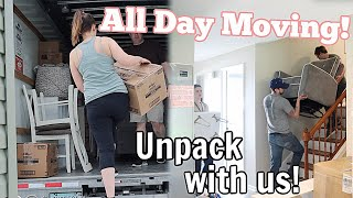 MOVING INTO OUR NEW HOUSE! MOVING VLOG | UNPACK & ORGANIZE WITH US