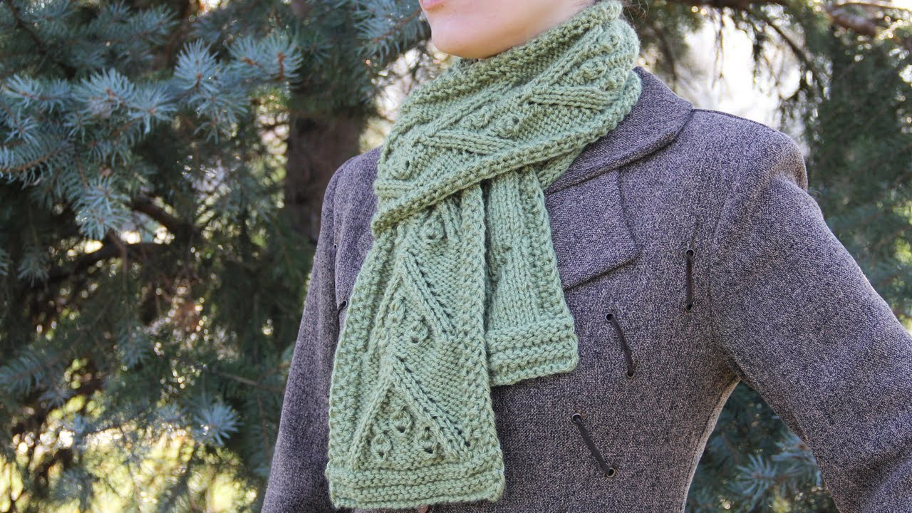 How To Knit A Christmas Scarf Video Tutorial For Beginners Youtube