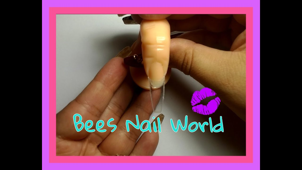 HOW TO - Coffin Shape Nail From A Square Nail Tip - YouTube