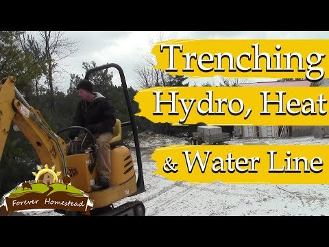 Installing Buried Services (Trenching Hydro, Water and EcoFlex Heat Pipe)