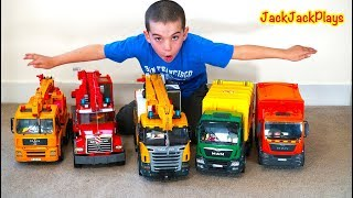 Jack Jack Pretend Play Fishing with Crane and Garbage Trucks