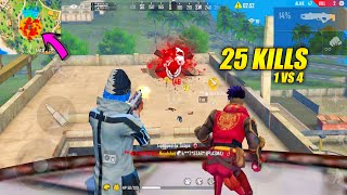Broke My Own Record 25 Kills In Solo vs Squad Situation With OP Headshots - Garena Free Fire