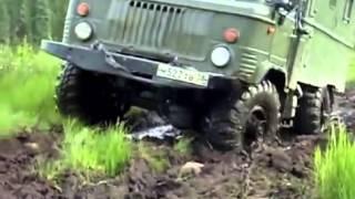 Russian army truck GAZ-66 runs hard off-road   Шишига вне дороги