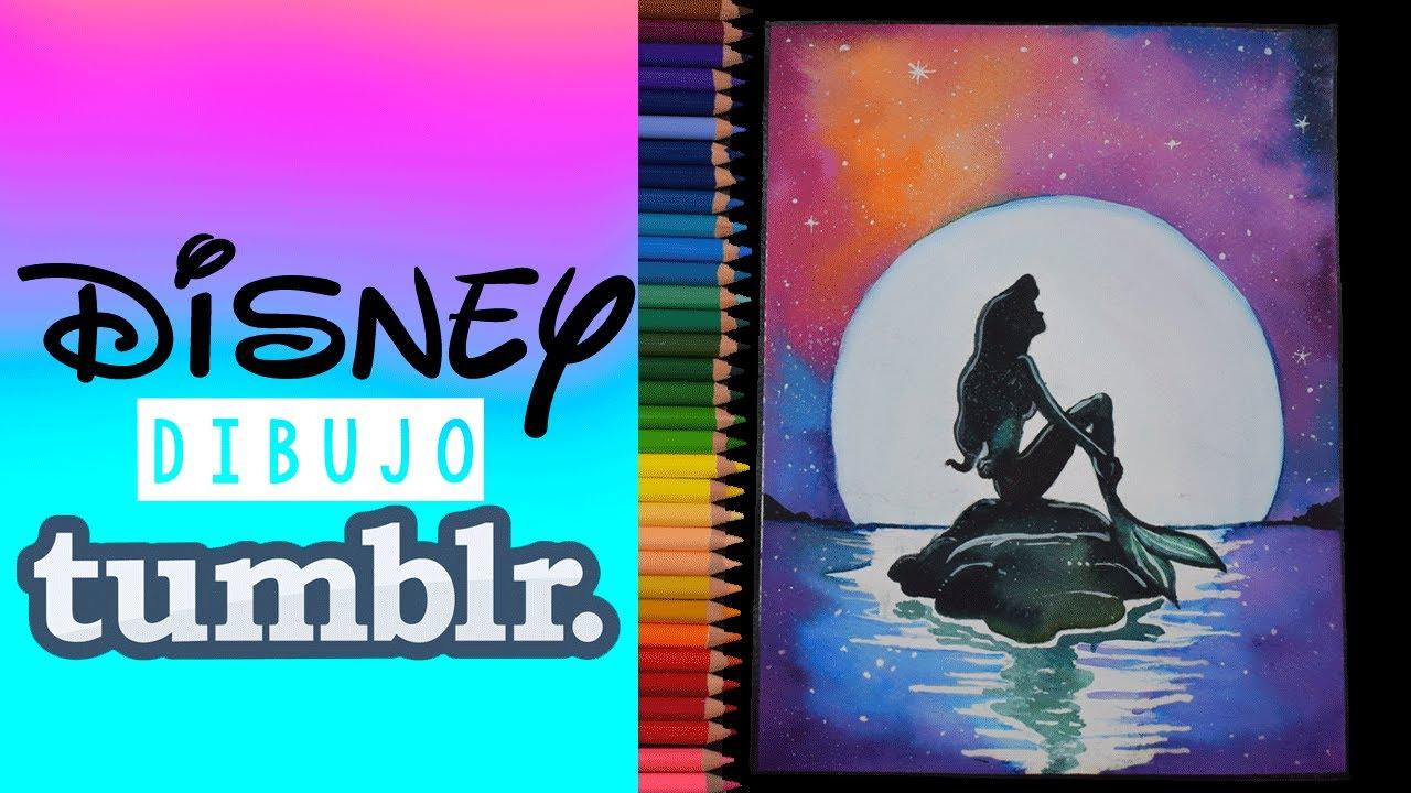 Dibujos De Disney Fáciles De Colorear: DIBUJOS TUMBLR FACIL- DRAW DISNEY TUMBLR (LA SIRENITA