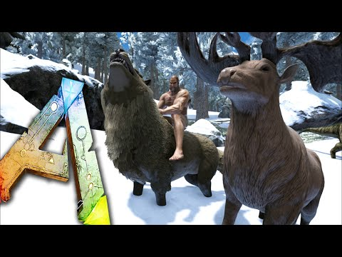 Ark Survival Evolved Ep21 - TAKE SHELTER! - DireWolf, Megaloceros Taming! Snow Biome Storms!