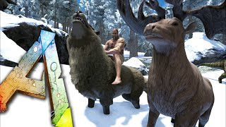 Ark Survival Evolved Ep21 - TAKE SHELTER! - DireWolf, Megaloceros Taming! Snow Biome Storms!