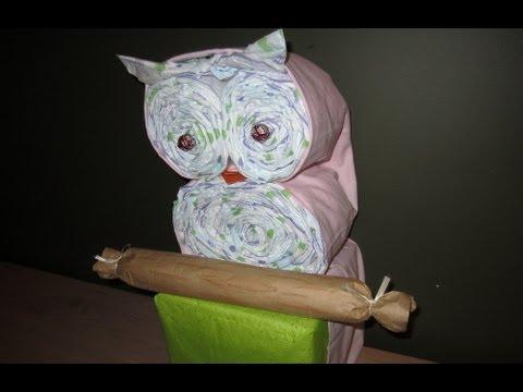 Baby Shower Owl Baby Diaper Craft   Diaper Cake