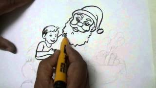 Santa Claus Giving Gifts Easy Drawing