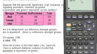 Contingency Tables on the Ti83 Calculator