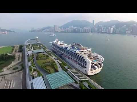 Kai Tak Cruise Terminal with Diamond Princess & Hong Kong Observation Wheel Aerial Filming