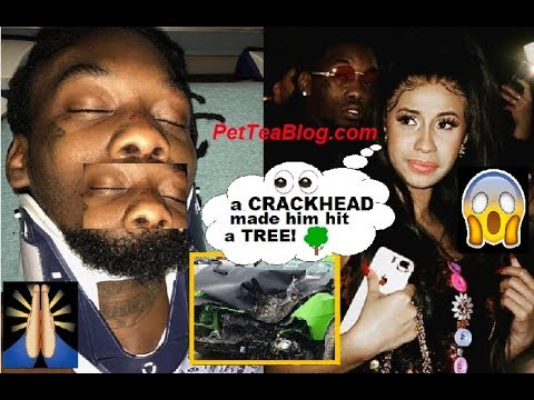 Cardi B says Offset Swerved a Crackhead & Hit a TREE he Shares Pictures 😱