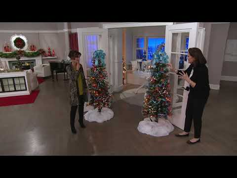 Glistening Pine Incandescent Slim Tree By Valerie On QVC
