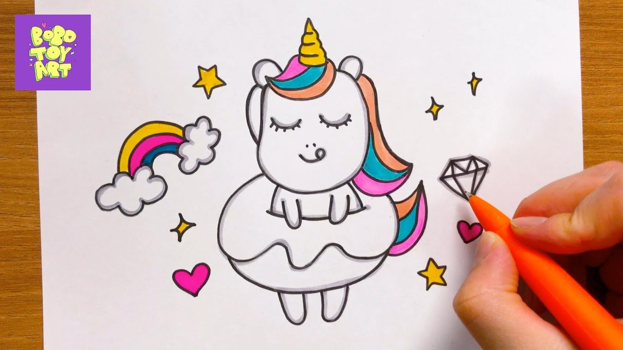 how to draw a unicorn eating a donut - stepstep
