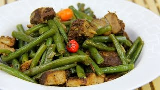 French Beans With Leftover Caribbean Stewed Pork.
