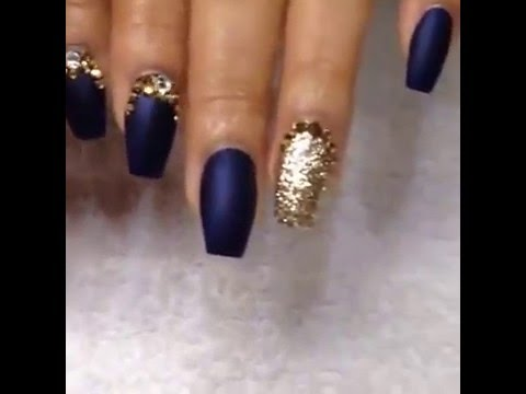 Amazing gold and navy nails! - YouTube