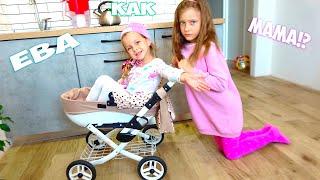 ЕВА осталась дома за старшую Присматривает за МАЛЫШОМ как Мама - Веселые истории для детей