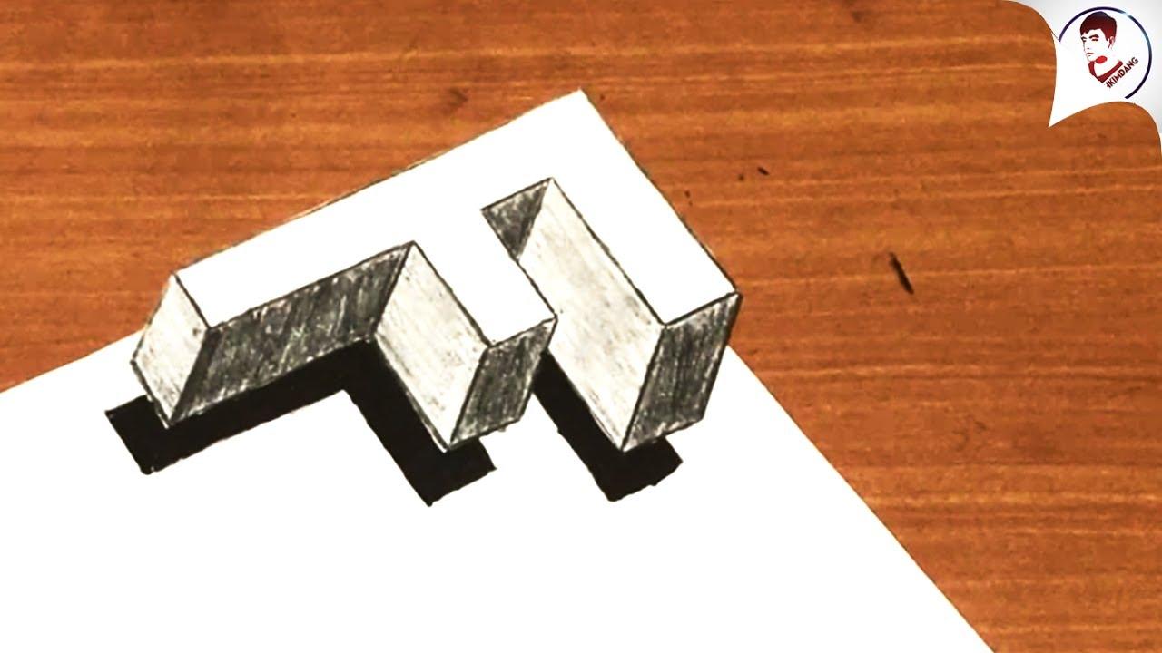 """Làm NTN để vẽ CHỮ """"F"""" 3D ĐÁNH LỪA THỊ GIÁC Siêu Ảo"""