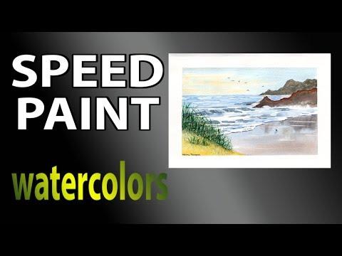 Sandy beach in watercolors 2