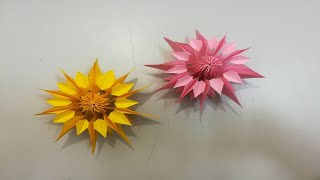 عمل زهرة من الورق للديكور و الزينة DIY Decortive Paper Flowers | Flower Making