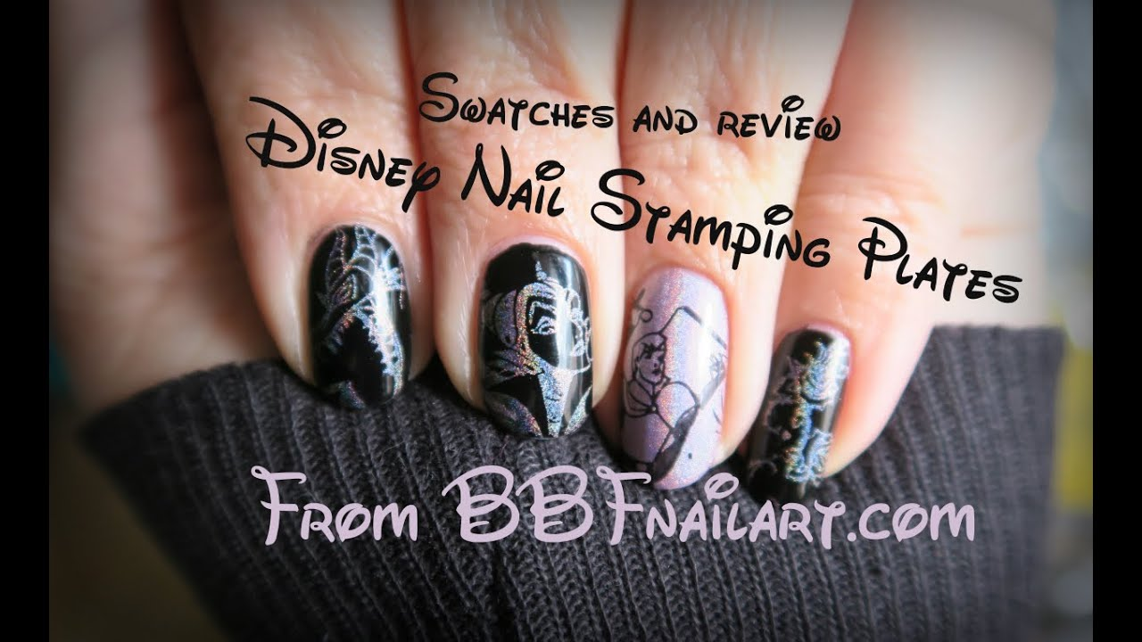Disney BBF Nail stamping plates / Swatches and Review - YouTube