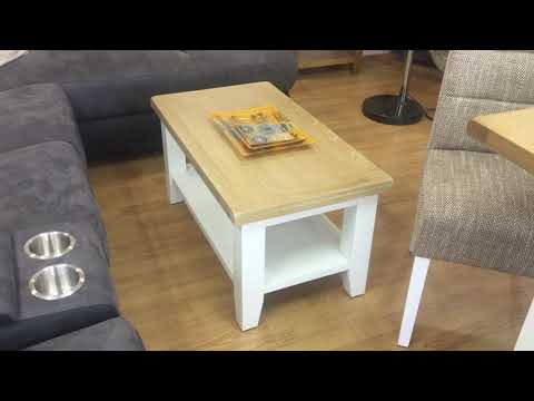 Telford Range - Lime Washed Oak Top With White Legs Dining Table Set and Living room Furniture