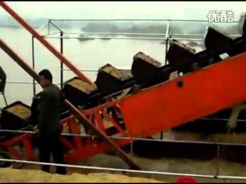 bucket chain dredger on working