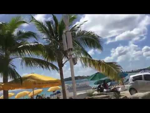 Walking along the boardwalk in Philipsburg St. Maarten
