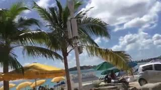 Walking along the boardwalk in Philipsburg St. Maarten