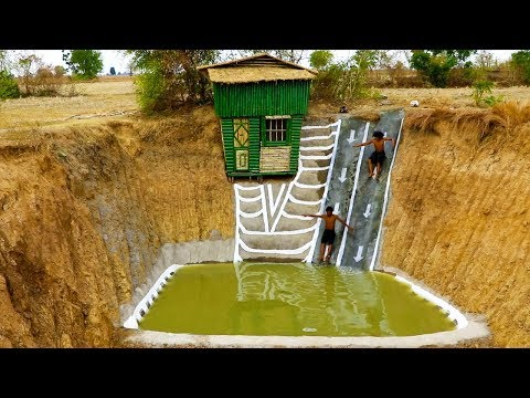 Dig Cliff To Build Two -  Story Bamboo House  And  Build Swimming Pool \u0026 Water Slide (full video)