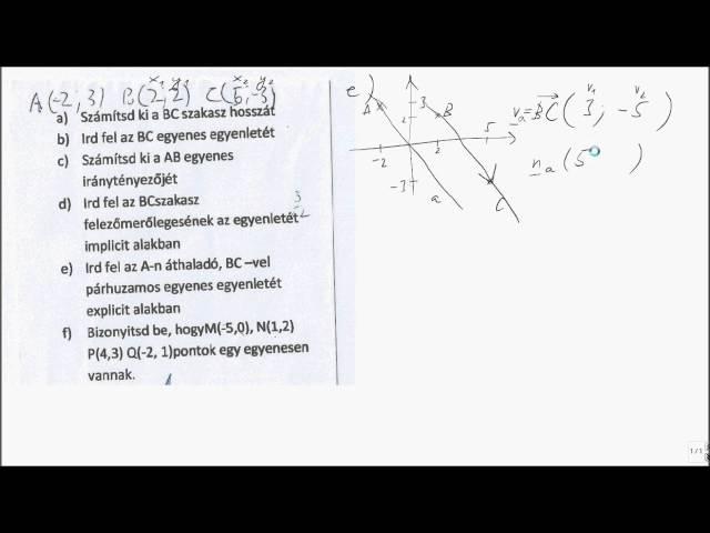 11. o. Koord.-geom 05 - egyenes egyenlete (adott egyenessel párhuzamos, adott ponton átmenő egyenes)