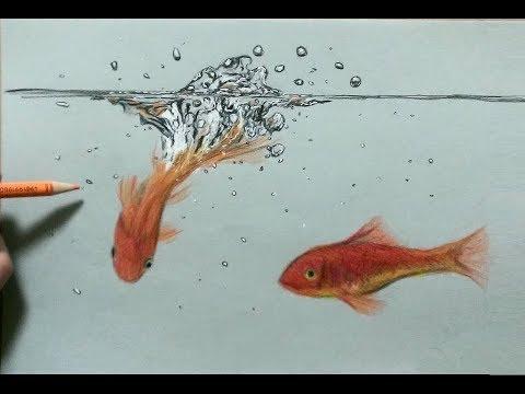 色鉛筆で金魚と水しぶきを描いてみた水の描き方draw A Goldfish And