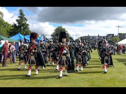 Aboyne Games 2017 - Arrival of the Massed Pipe Bands to the Highland Games in Deeside, Scotland