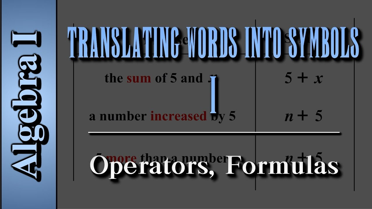 Algebra I Translating Words Into Symbols Level 1 Of 2 Operators