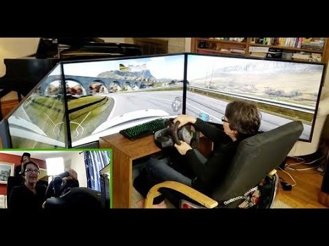 Mom test-drives ULTIMATE DIY racing simulator! (Project Cars 2)