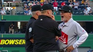 CHC@PIT: Maddon ejected during first AB of the game