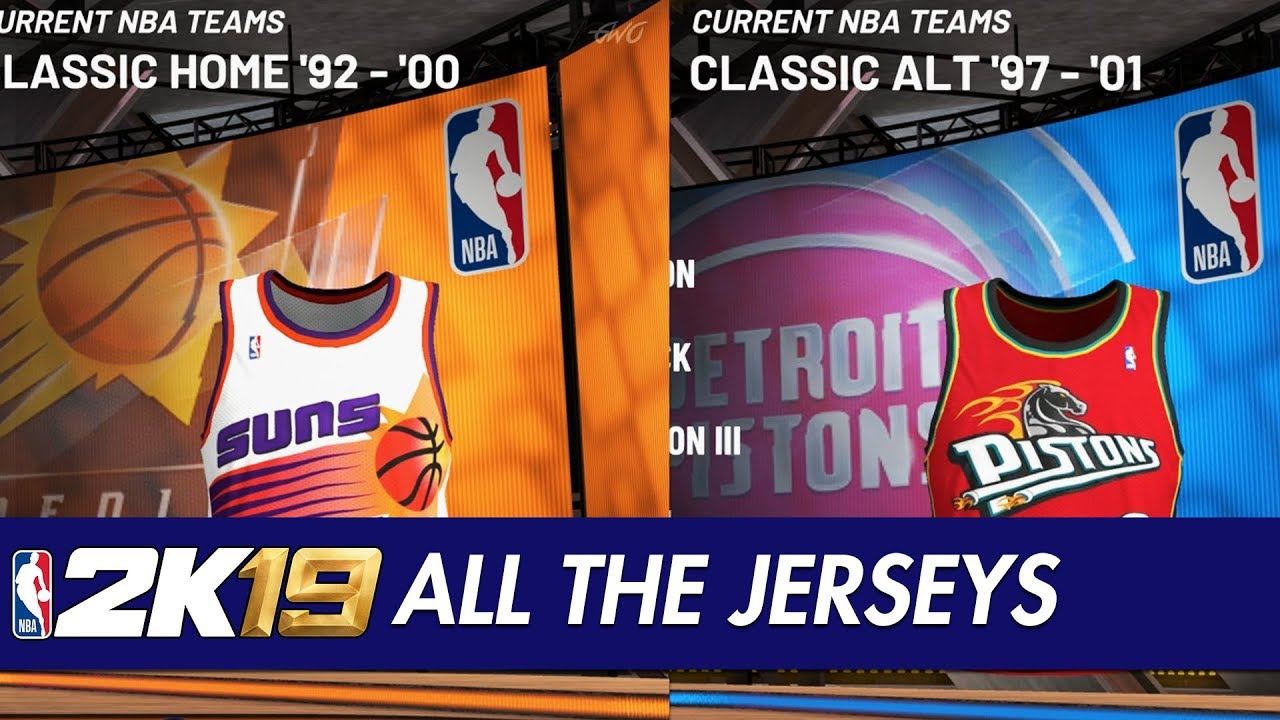 20cae8739b9d NBA 2K19 - All Team Jerseys Uniforms In The Game - YouTube