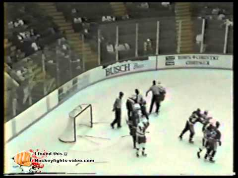 Oct 18, 1991 Wayne Doucet vs Kirk Tomlinson Capital District Islanders vs Adirondack Red Wings AHL