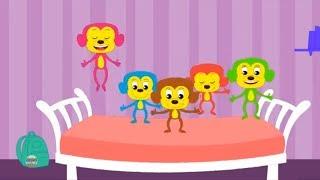 пять маленьких обезьян | детская песня | детская рифма | Five Little Monkeys | Video For Kids