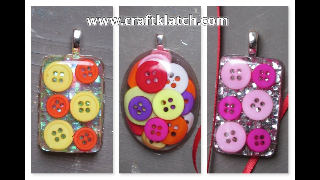 How to make button resin charms craft tutorial youtube for Button crafts for adults