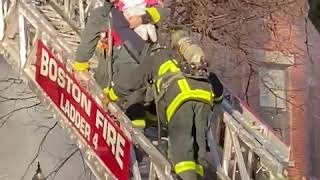 Boston firefighters rescue woman, two children from burning building   ABC News
