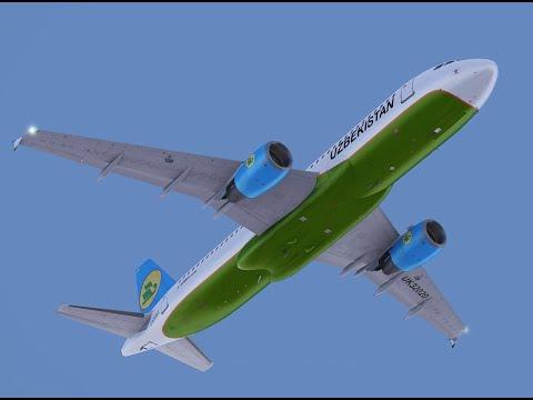Ургенч-Ташкент. Глазами пилотов. Узбекистон хаво йуллари. Airbus A320. [FSX 1080p 60fps]