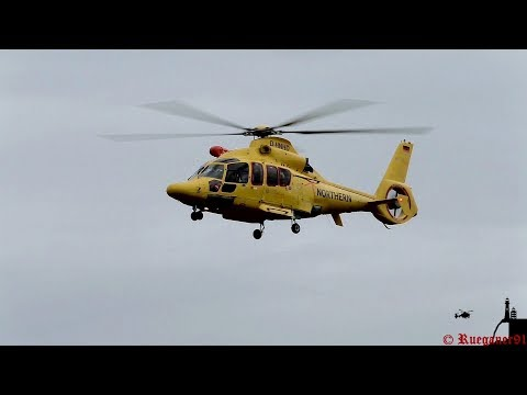 [HD] NHC02, Offshore Rescue Helicopter EC 155 landing at Güttin Airfield