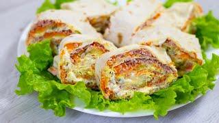 Закусочный рулет «Оливье» | Подача любимого салата по-новому.