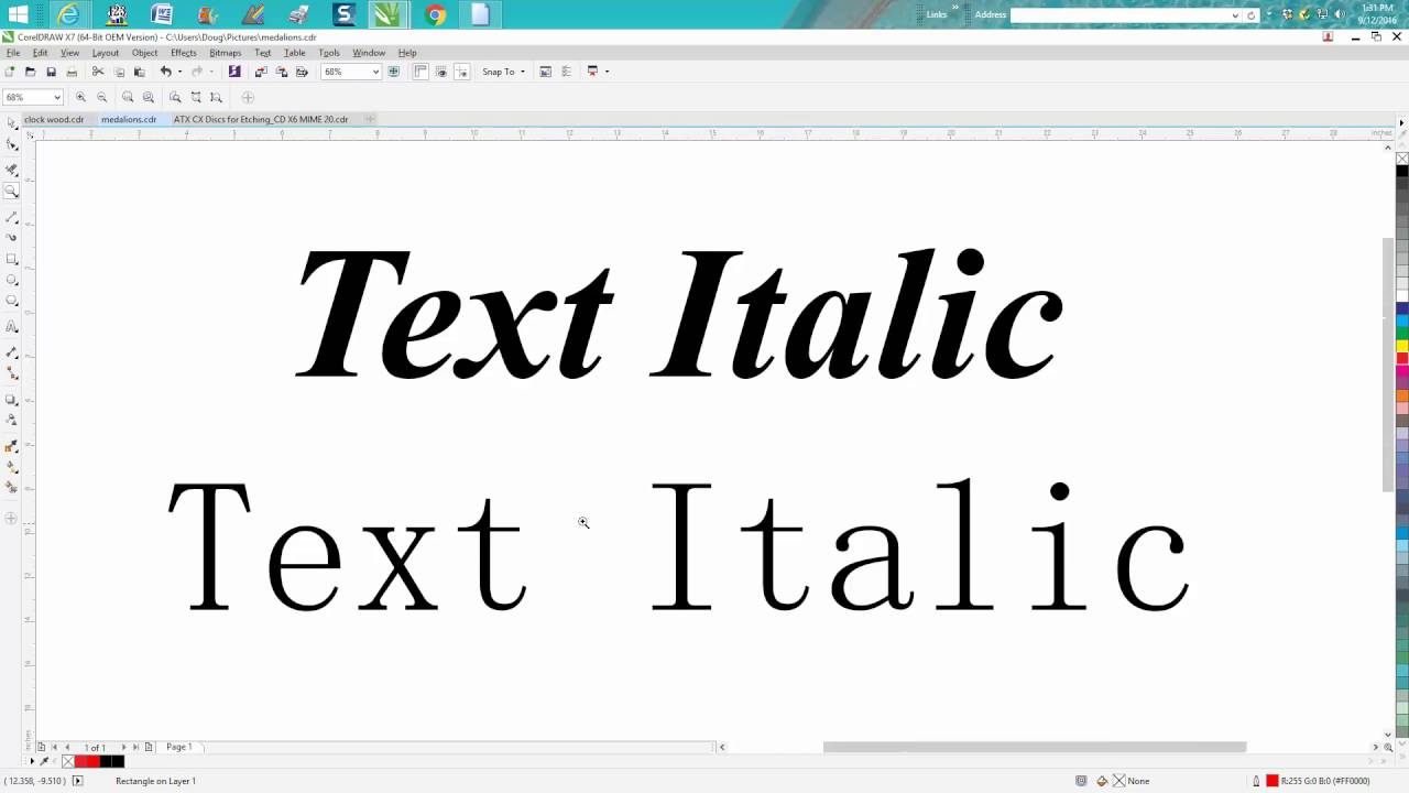 Corel Draw Tips Tricks Make Any Text Or Font Italic And BOLD