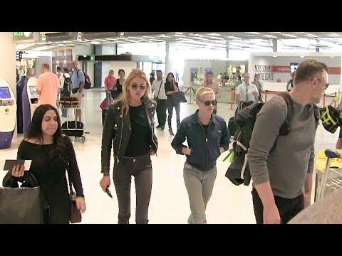 EXCLUSIVE - Kristen Stewart and GF Stella Maxwell at Orly Airport in Paris