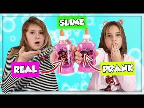 REAL vs PRANK SLIME CHALLENGE ! en français