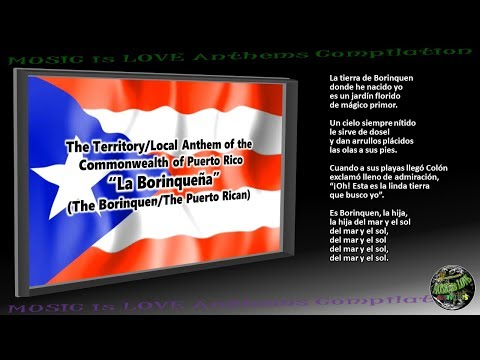 "Puerto Rico Territory Anthem ""La Borinqueña"" INSTRUMENTAL with lyrics"