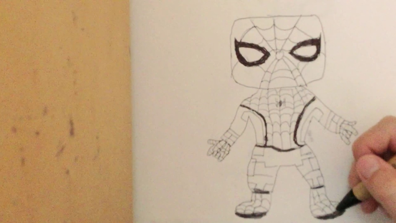 how to draw spider man homecoming easy
