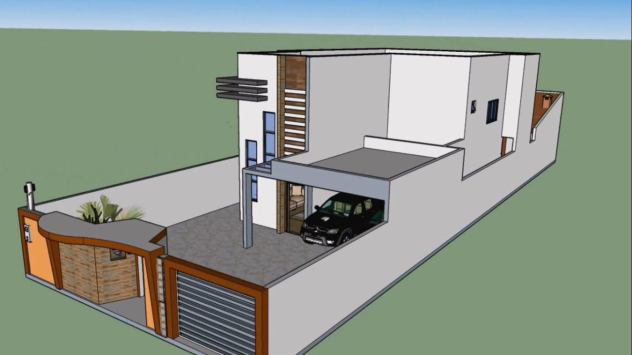 Planta de casa 3d maquete eletr nica sketchup youtube for Crea casa 3d